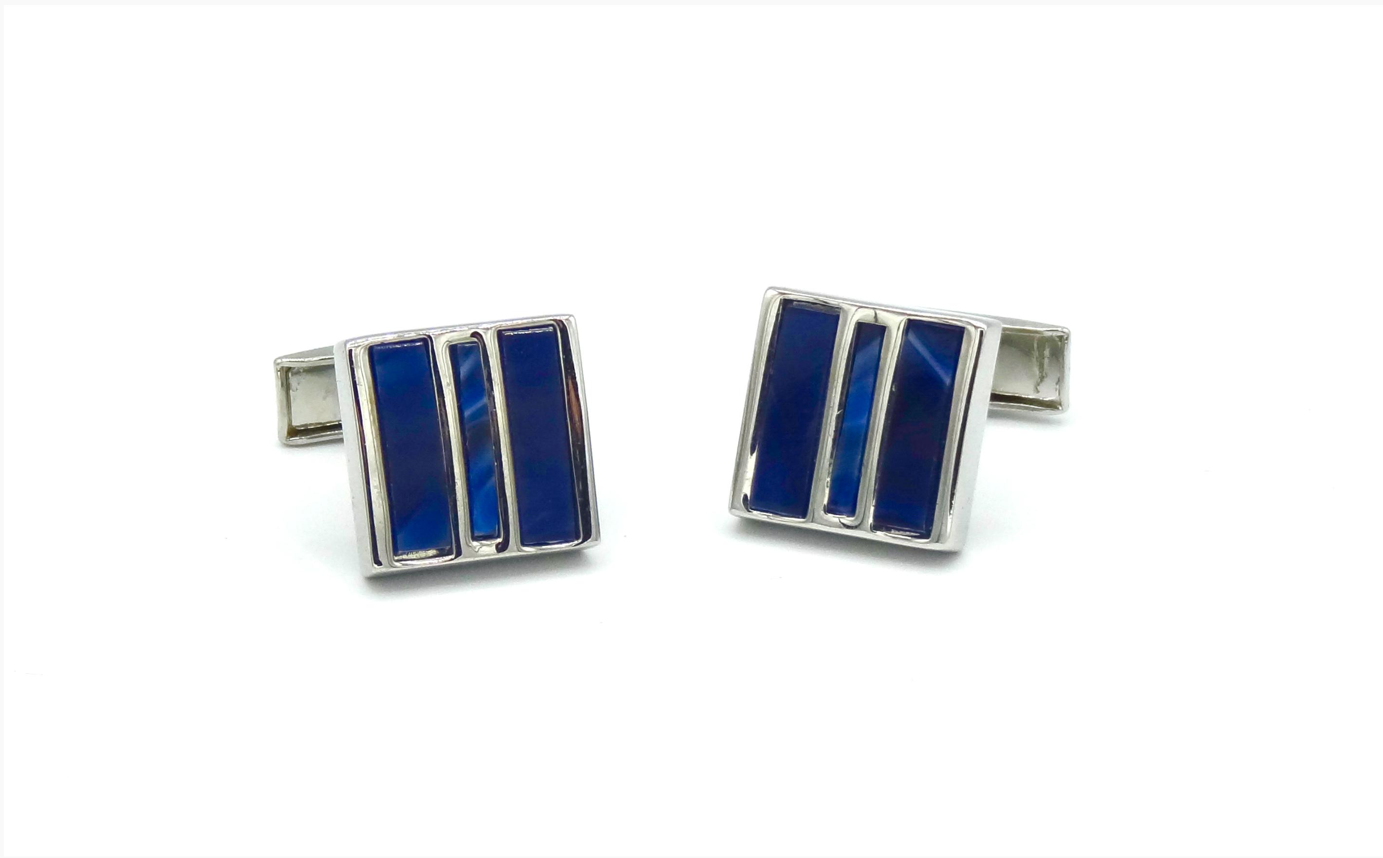 Manchetknopen blauw vierkant in drie vlakken