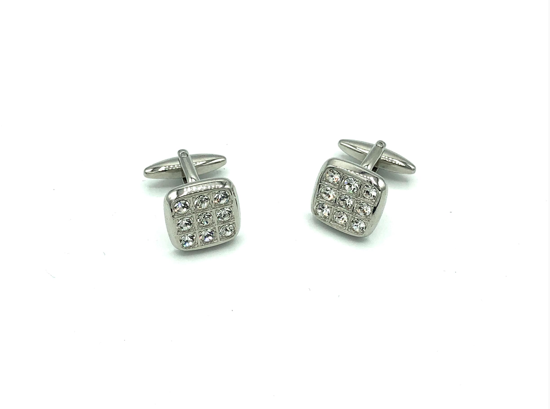 Manchetknopen kleine diamanten in vierkant