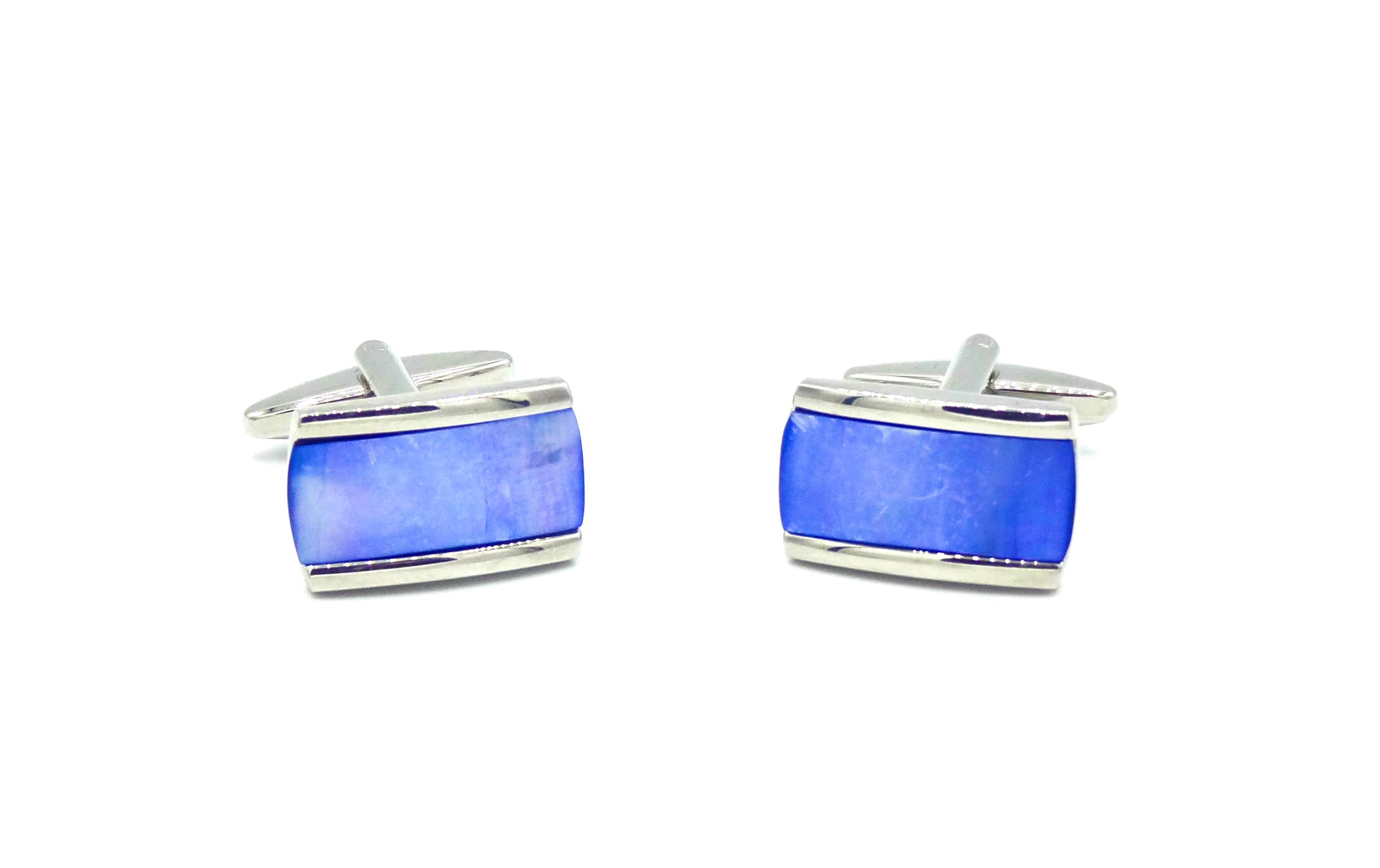 Manchetknopen kobalt blauw rechthoek in twee vlakken