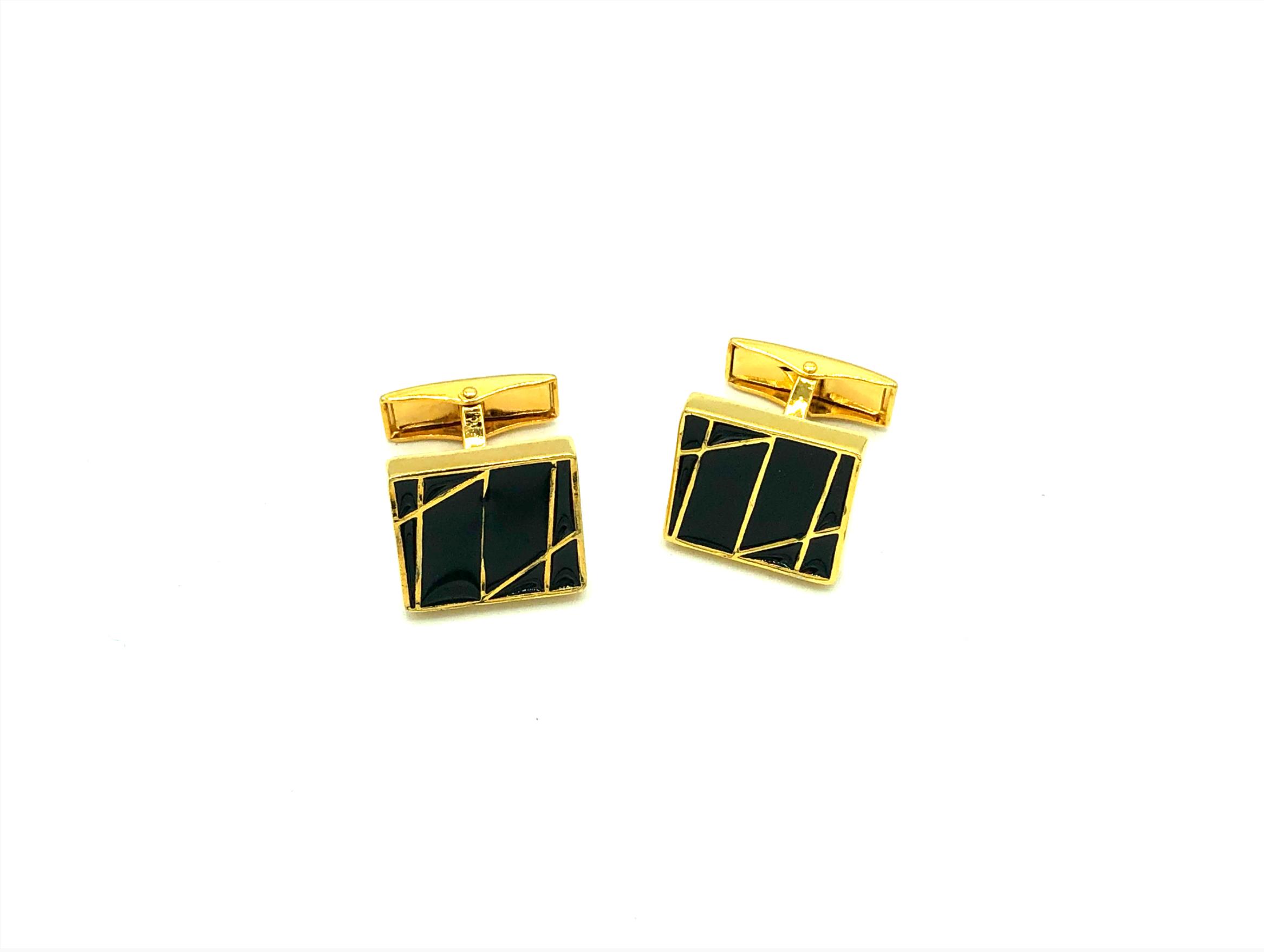 Manchetknopen zwart met gouden strepen