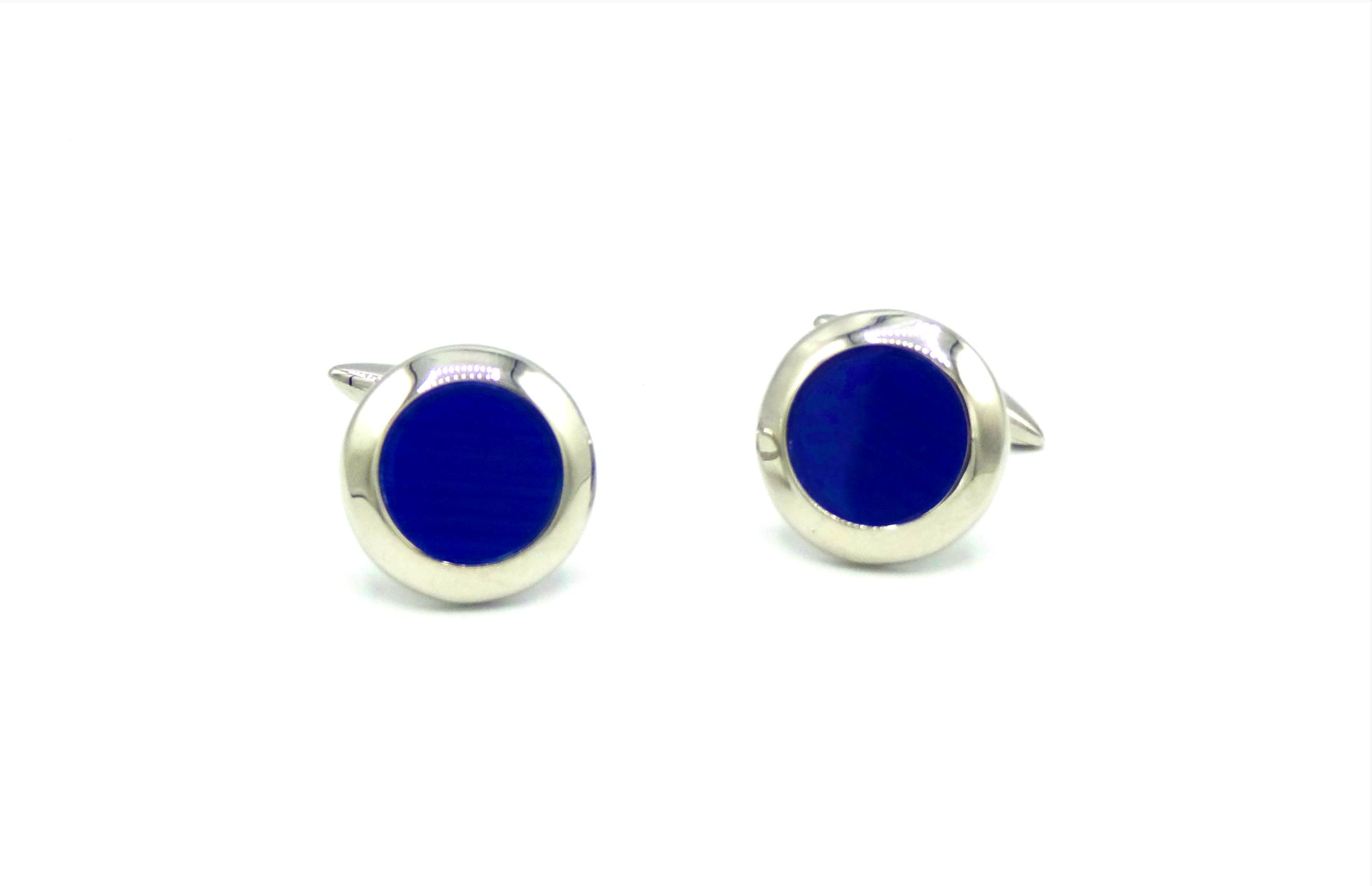 Manchetknopen kobalt blauw rond
