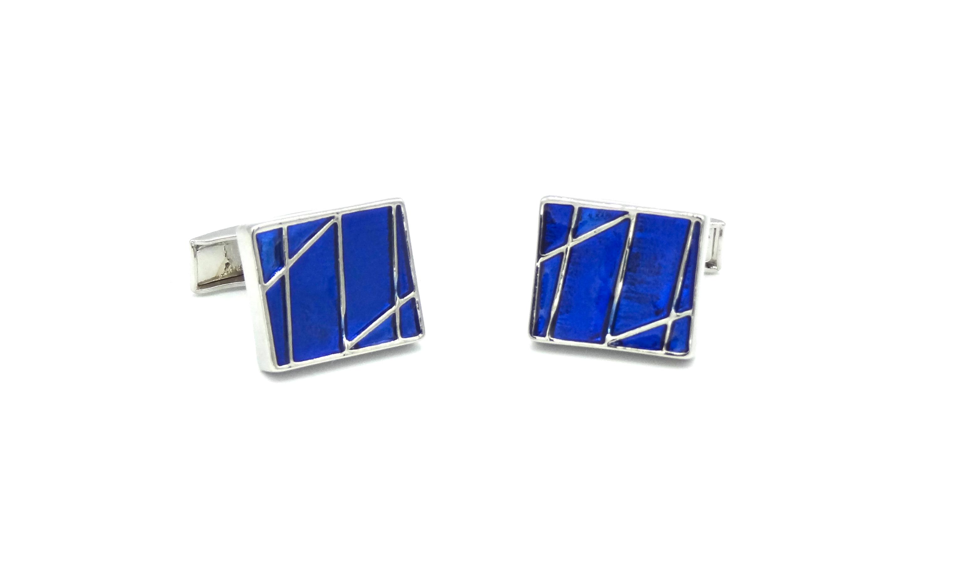 Manchetknopen kobalt blauw vierkant met metalen strepen