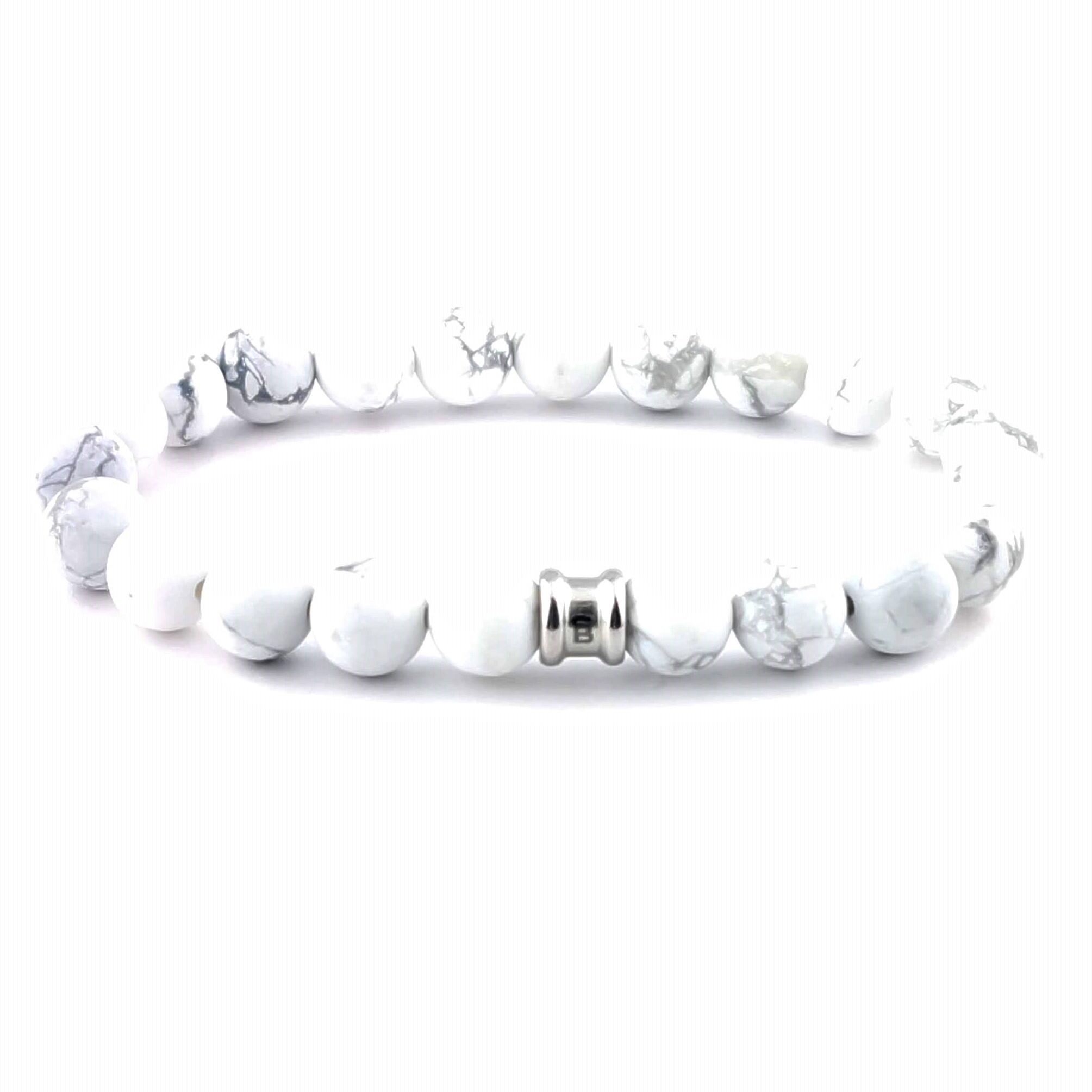 Stenen kralen armband Basic Bianco