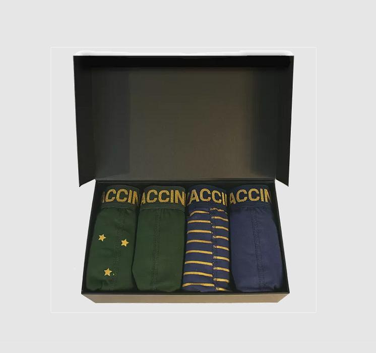 Boxershorts 4-pack Gold stripe en Gold star