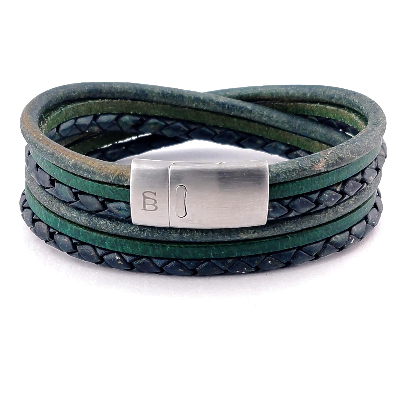 Leren armband Bonacci Dark Green