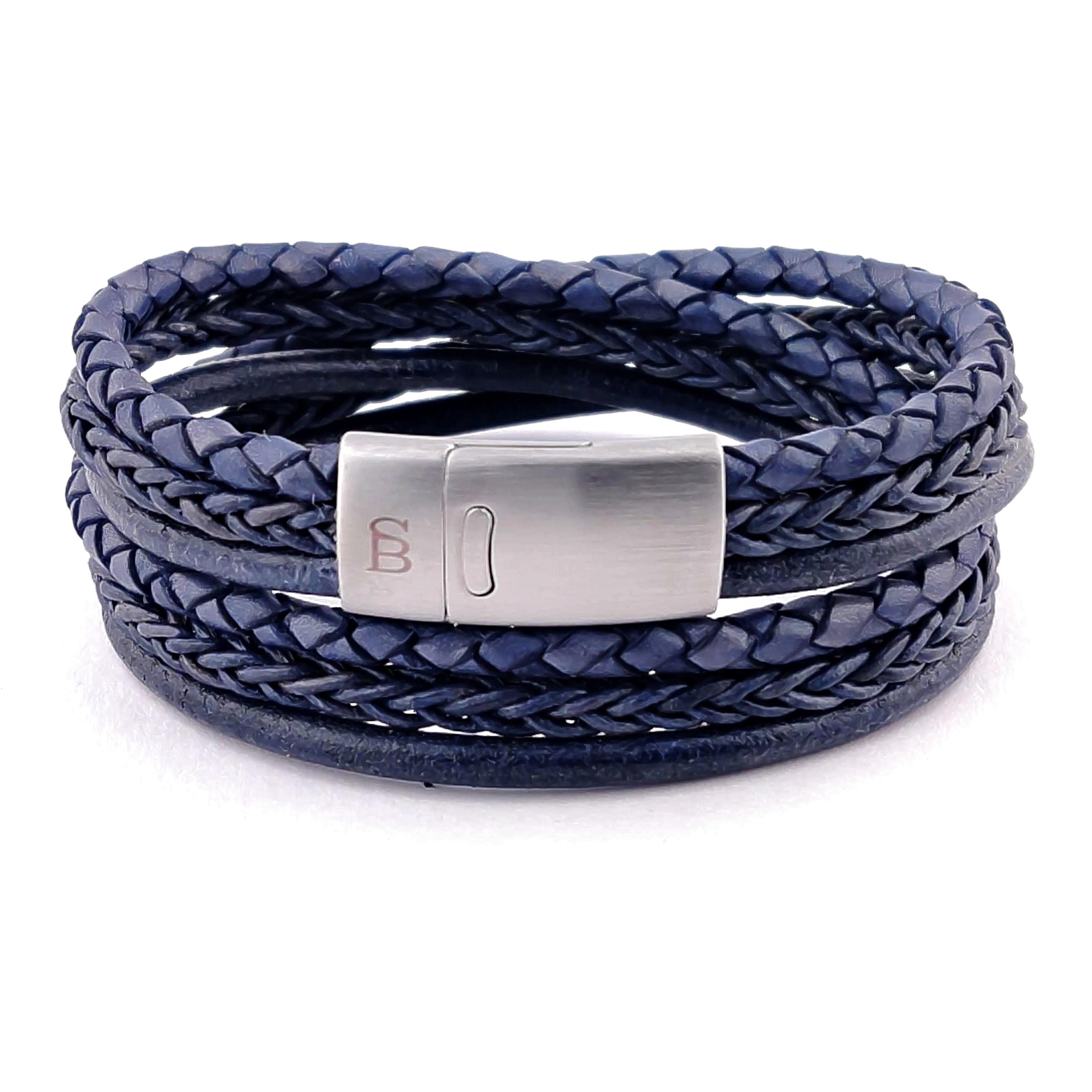 Leren armband Bonacci Denim Blue