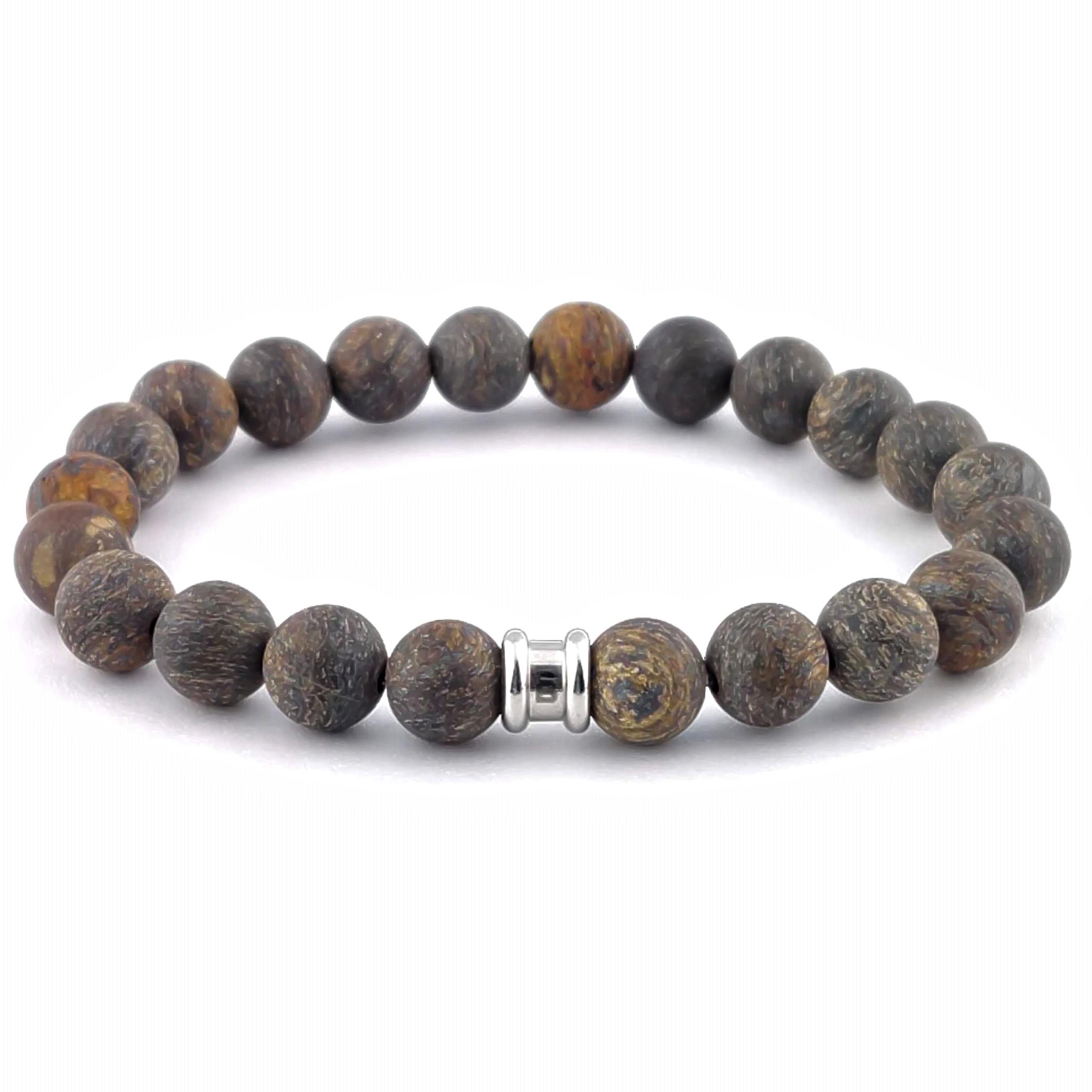 Stenen kralen armband Basic Matt Bronzite