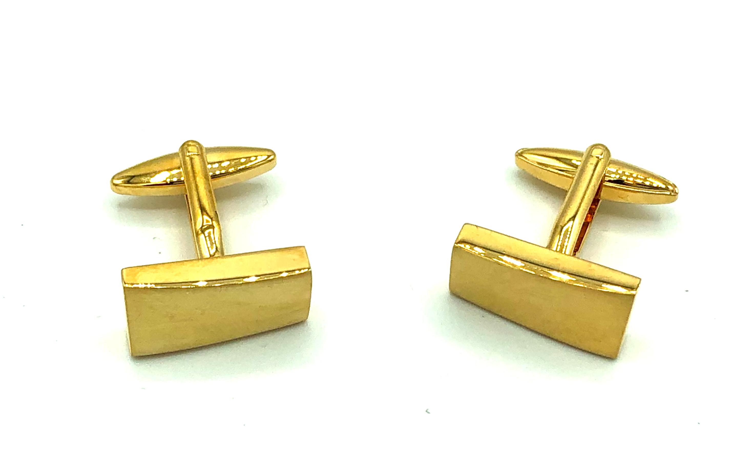 Manchetknopen goud rechthoekig